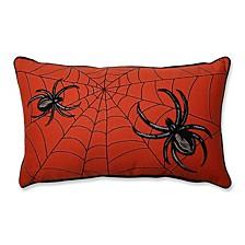 Spider Web Embroidery Orange Rectangular Throw Pillow