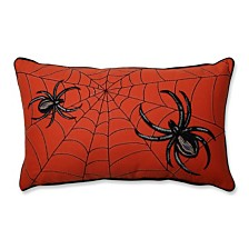 Spider Web Embroidery Orange Rectangular Throw Pillow