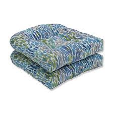 Make It Rain Cerulean Wicker Seat Cushion, Set of 2