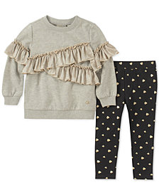 Calvin Klein Toddler Girls 2-Pc. Ruffle-Trim Sweatshirt & Leggings Set