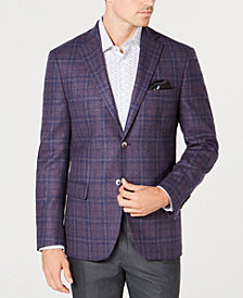 Tallia Men's Big & Tall Slim-Fit Purple Plaid Sport Coat