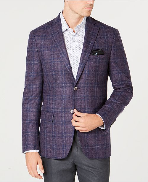 c85e591b38 Tallia Men s Slim-Fit Purple Plaid Sport Coat   Reviews - Blazers ...