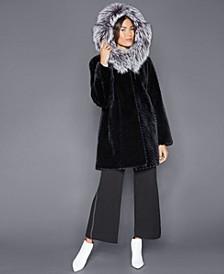 Fox-Trim Sheared Beaver Fur Coat