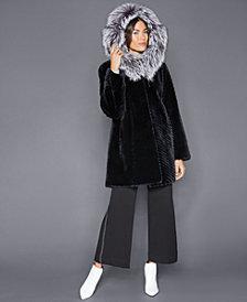 The Fur Vault Fox-Trim Sheared Beaver Fur Coat