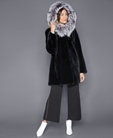 The Fur Vault Fox-Trim Sheared Beaver Fur Coat