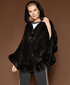 The Fur Vault Hooded Mink Fur Cape