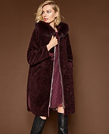 Fox-Trim Lamb Fur Coat