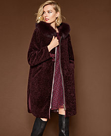 The Fur Vault Fox-Trim Lamb Fur Coat