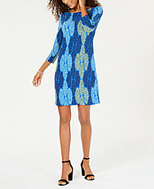 Pappagallo Jane 3/4-Sleeve Printed Dress
