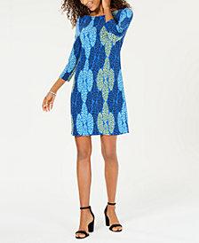 Pappagallo Jane 3/4-Sleeve Printed Dress