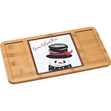 Snow Much Fun Bamboo Serving Board With Glass Snowman Insert