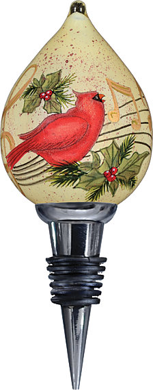 Ne Qwa Art Hand-Painted Blown Glass Holiday Music Wine Stopper