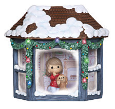 Girl And Puppy Watching Snowfall Lighted Music Box