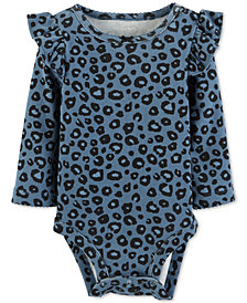 Carter's Baby Girls Animal-Print Flutter-Trim Cotton Bodysuit