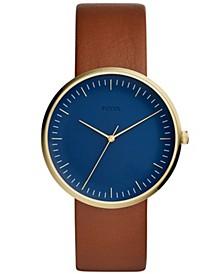 Men's Essentialist Brown Leather Strap Watch 42mm