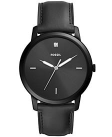 Men's Minimalist Carbon Series Diamond Black Leather Strap Watch 44mm