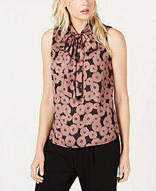 Bar III Floral Printed Tie-Neck Top, Created for Macy's