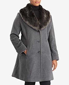 Plus Size Faux-Fur-Collar Shawl Coat, Created For Macy's