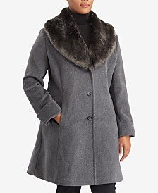 Lauren Ralph Lauren Plus Size Faux-Fur-Collar Shawl Coat, Created For Macy's