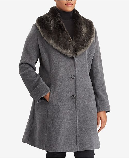 Lauren Ralph Lauren Plus Size Faux-Fur-Collar Shawl Coat, Created For Macy's