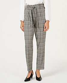 Bar III Self-Tie Plaid Pants, Created for Macy's