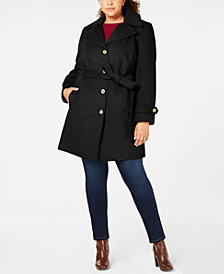 MICHAEL Michael Kors Plus Size Hooded Belted Coat