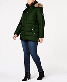 MICHAEL Michael Kors Plus Size Faux-Fur-Trim Puffer Coat