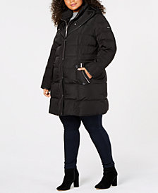 DKNY Plus Size Faux-Leather-Trim Puffer Coat, Created for Macy's
