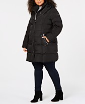 3c22e9f397 DKNY Plus Size Faux-Leather-Trim Puffer Coat