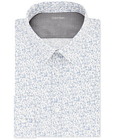 Calvin Klein X Men's Extra-Slim Fit Temperature Regulating Stretch Blue Pattern Dress Shirt