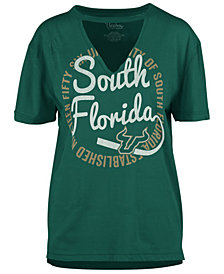 Royce Apparel Inc Women's South Florida Bulls Cutout V-Neck T-Shirt