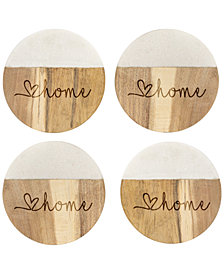 Cathy's Concepts Marble & Acacia Wood Coasters, Set Of 4