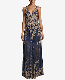 XSCAPE Embroidered Lace Gown
