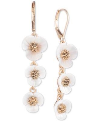 lonn & lilly Gold-Tone & Imitation Mother-of-Pearl Flower Linear Drop Earrings