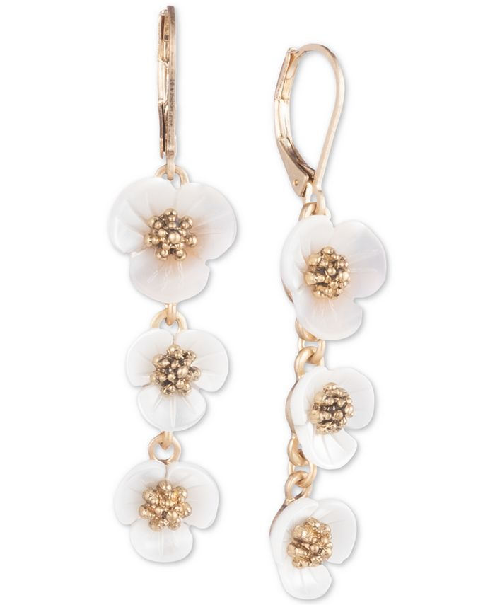 lonna & lilly - Gold-Tone & Imitation Mother-of-Pearl Flower Linear Drop Earrings