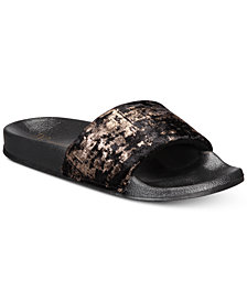 I.N.C. Metallic Velour Slide Slippers, Created for Macy's