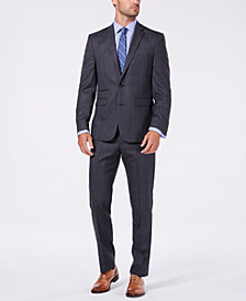 Vince Camuto Men's Slim-Fit Stretch Medium Gray Plaid Flannel Wool Suit