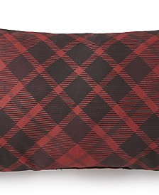 Toile Back In Black Long Rectangle Pillow - Red Plaid