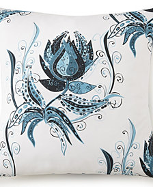 Tropical Bloom Euro Sham - White Background, Blue Print