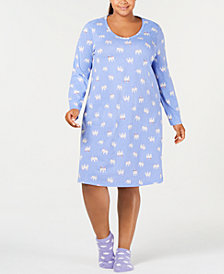 Charter Club Plus Size Graphic-Print Sleepshirt with Socks, Created for Macy's