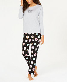 Jenni by Jennifer Moore Cotton Graphic Top & Pajama Pants Set, Created for Macy's