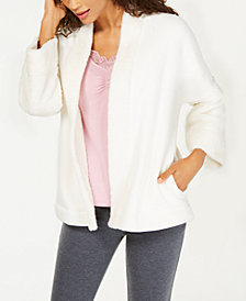I.N.C. Sherpa Cozy Open-Front Sleep Top, Created for Macy's