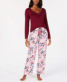 I.N.C. Lace-Trim Sleep Top & Printed Pajama Pants Sleep Separates, Created for Macy's