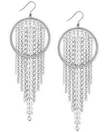 Lucky Brand Silver-Tone Chain Fringe Hoop Earrings