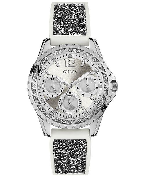 405fb74e9f7a ... GUESS Women s White Silicone   Black Glitter Strap Watch 40mm ...