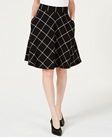 Windowpane-Print A-Line Skirt, Created for Macy's