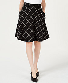 Maison Jules Windowpane-Print A-Line Skirt, Created for Macy's