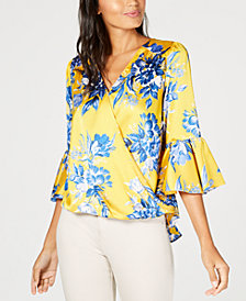 I.N.C. Printed Bell-Sleeve Top, Created for Macy's