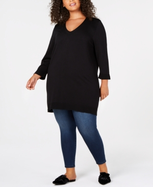 525 America PLUS SIZE BACK LACE-UP SWEATER
