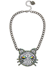 "Betsey Johnson Hematite-Tone Crystal Cat Pendant Necklace, 16"" + 3"" extender"